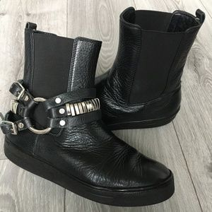 My Grey Black Leather Ankle Bootie With Harness 36